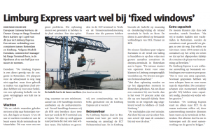 BTB - Limburg Express vaart wel bij 'fixed windows' - Publicatie Binnenvaartkrant 24 september 2019